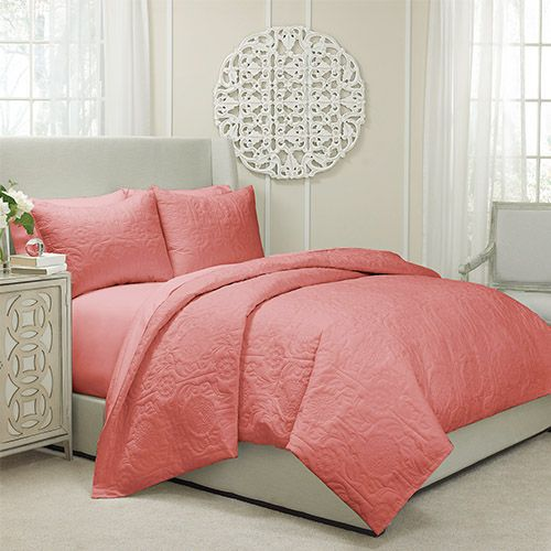 Barcelona Coral Three-Piece King Quilted Coverlet and Duvet Set - (In No Image Available)