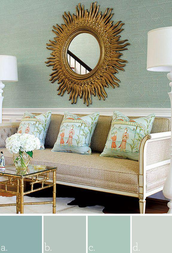 Bedroom paint color  a. Benjamin Moore antiqued aqua   b. Benjamin Moore picnic basket   c. Benjamin Moore antique glass   d. Benjamin Moore cool breeze