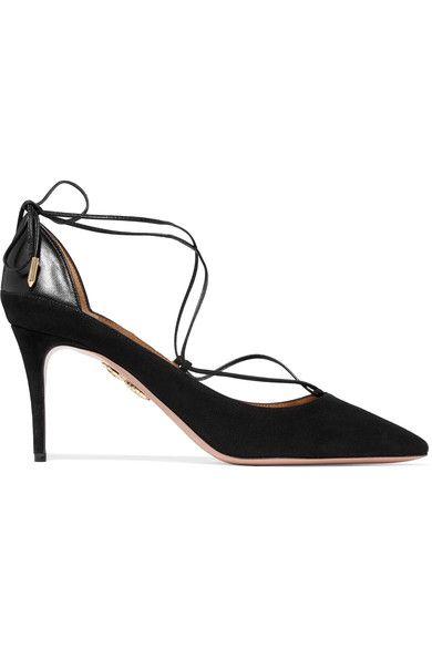 Aquazzura - Fellini Leather-trimmed Suede Pumps - Black - IT
