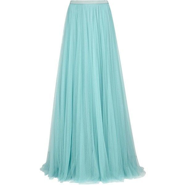 Jenny Packham Pastel blue tulle maxi skirt ($1,475) ❤ liked on Polyvore featuring skirts, pleated skirt, blue skirt, long skirts, floor length skirts and pastel maxi skirt