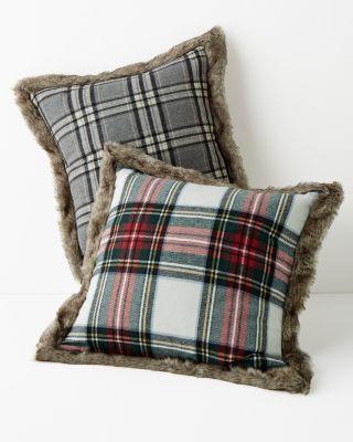 Plaid Faux-Fur-Trimmed Pillow