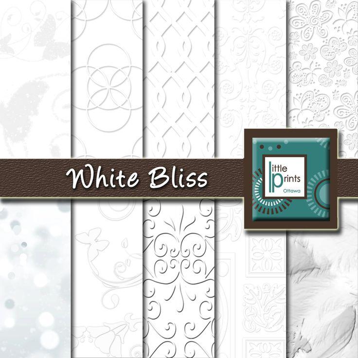 Digital Paper - White Bliss, Digital scrapbook paper, white background, white wedding invitation, invitation paper, white pattern paper - pinned by pin4etsy.com