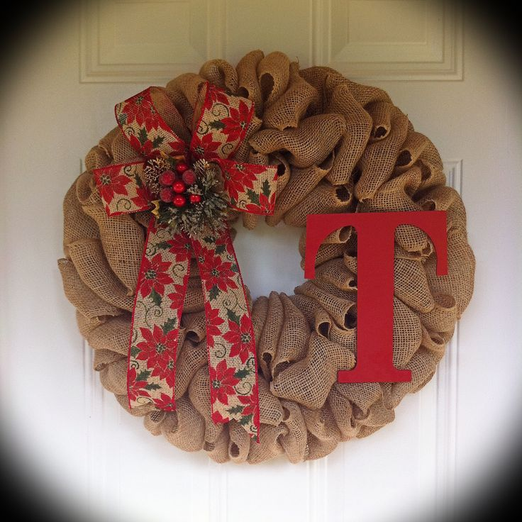 burlap wreath with poinsettia ribbon  everything came from my favorite store  a hobby lobby