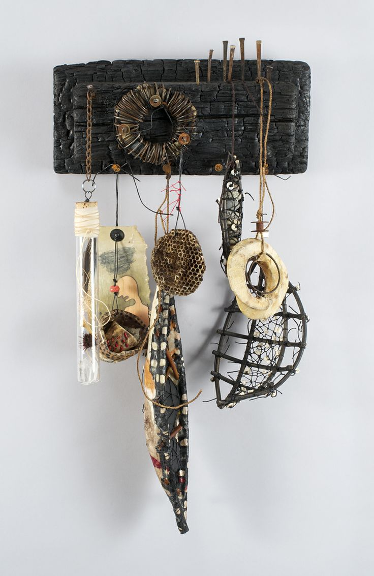 Shannon Weber, Oregon Woven Mixed Media sculpture: woven, stitched, carved, burned, paper, encaustic, beach stones, fish bones