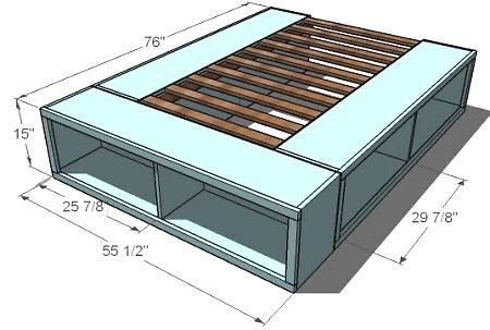 DIY platform bed. Storage and a bedframe - both things we need!