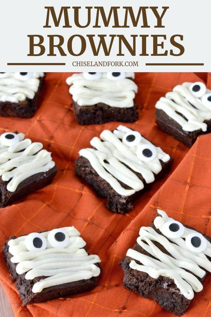 Mummy Brownies Recipe Halloween Themed Desserts Mummy