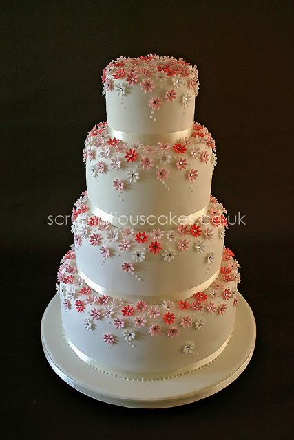 Wedding Cake - Pink Daisies & Diamantes by Scrumptious Cakes (Paula-Jane)