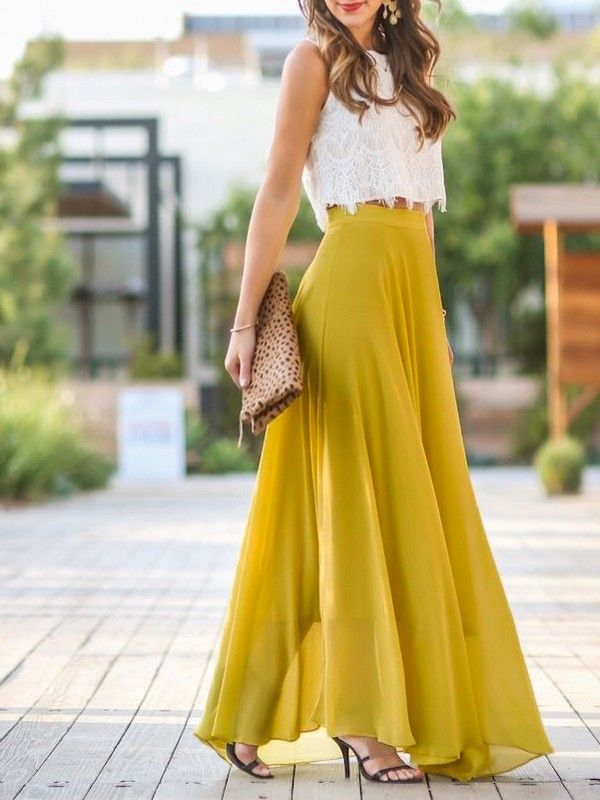 Yellow Patchwork Lace Draped Elastic Waist Elegant Skirt - Skirts - Bottoms f089f493d52f