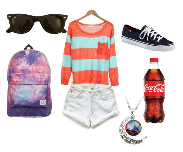 """School summer clothes"" by vollyball on Polyvore featuring Levi's, Ray-Ban, Keds, women's clothing, women, female, woman, misses and juniors"