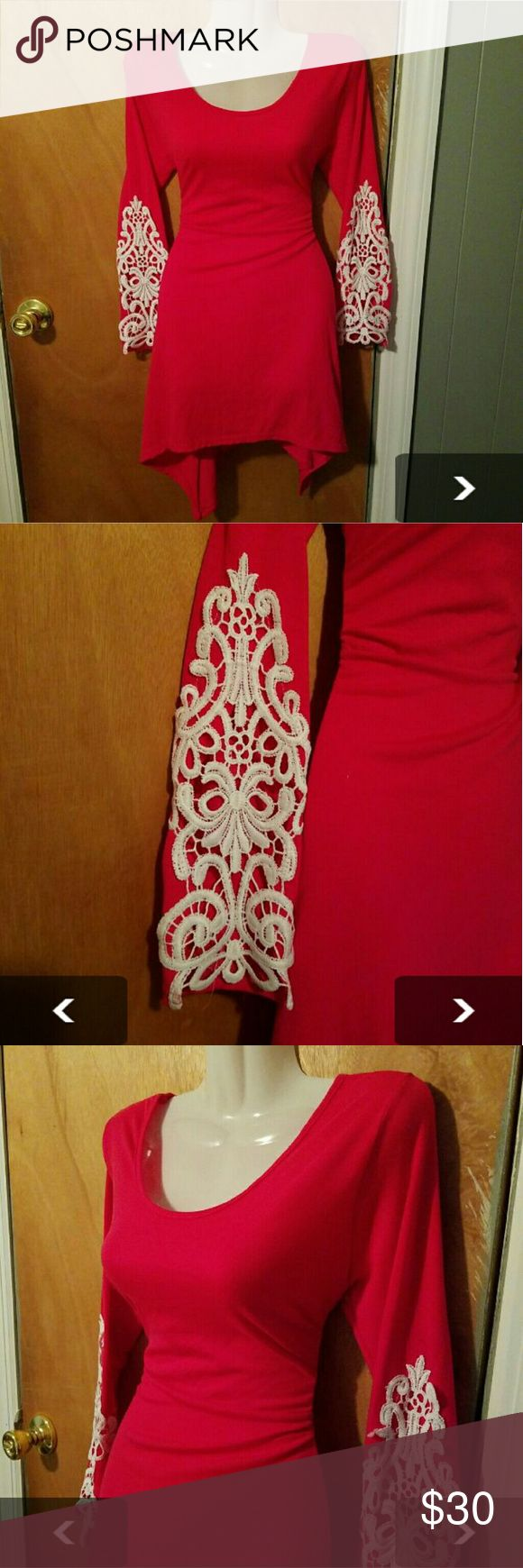 Hot Pink Dress with Crochet Sleeves Dress is not coral as shown on model. Dress is hot pink dress with white crochet sleeves. Price firm. Dresses Mini