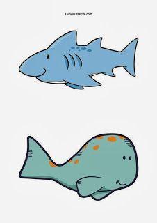 kerajinan anak balita/TK, belajar menggunting pola gambar ikan hiu & paus