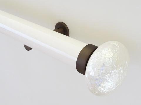 50mm dia. gloss lacquered soft white curtain pole set with riva ellipse finials - opaline
