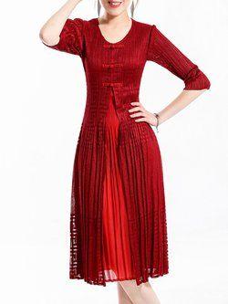 Red Pleated A-line Crew Neck Elegant Midi Dress