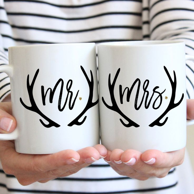 "This boho set of mugs makes a memorable gift for any couple with our ""Mr & Mrs"" set. This mug set is perfect for the most stylish pair. Great for the coffee or tea lover. This makes a fabulous bridal"