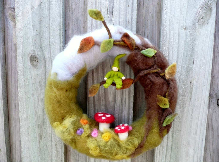 Autumn Wreath, soft sculpted with wee gnome.