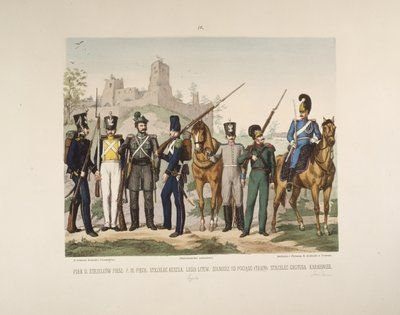 Infantry, train staff and constable - page 4 of a Polish illustrated album commemorating the November Uprising in 1831, published by Karol Kozlowski, printed by Czcionkami Drukarni Dziennika Poznan Boskiego, 1887 Wall Art & Canvas Prints by Juliusz Fortunat Kossak