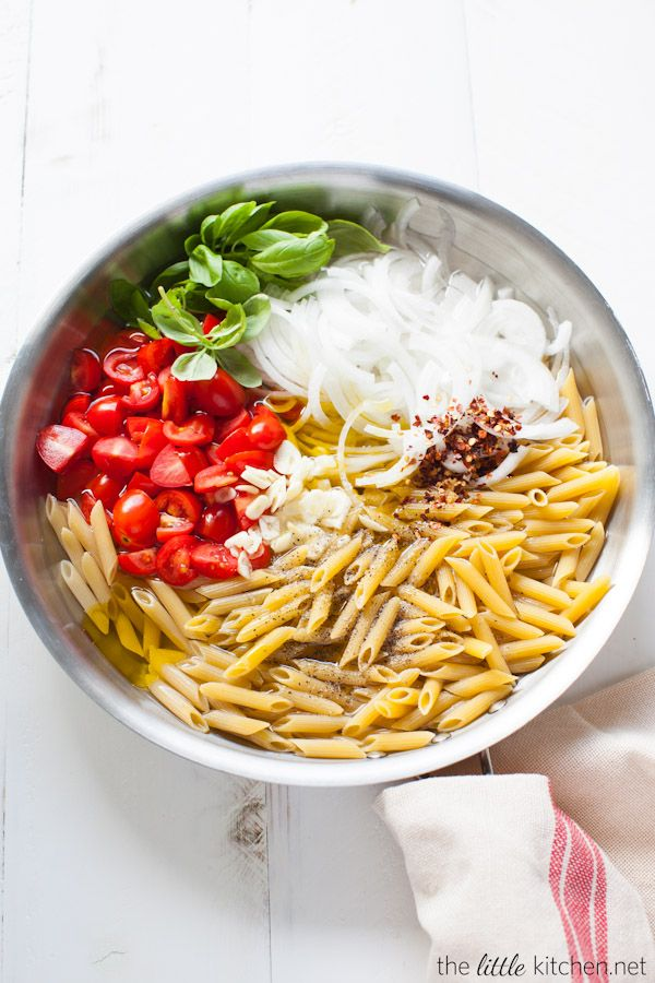 One Pot Penne Pasta with Tomato & Basil from thelittlekitchen.net