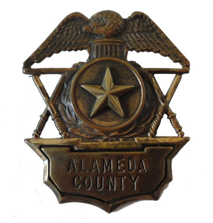 ALAMEDA COUNTY Sheriff Badge California police vintage brass eagle star