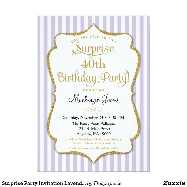 Surprise Party Invitation Lavender Lilac Gold An elegant surprise birthday party invitation in Lavender and gold, featuring lilac and white stripes & gold glitter text frame. The glitter text frame on this classy and classic birthday party invite features a shadow to give a raised appearance. This Lavender and gold surprise party invite is sure to please that special birthday star in your life. Perfect for milestone birthdays such as 18th 20th 21st 30th 35th 40th 45th 50th 55th 60th 65th…