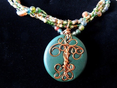 Celtic Tree of Life Necklace Handmade Polymer Clay
