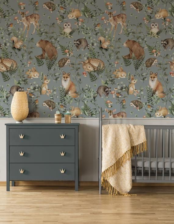Pattern Name Woodland Storybook Lake A Wallpaperie Exclusive More Sizes Available Just Ask Also Check Out Woodland Wallpaper Prepasted Wallpaper Mural