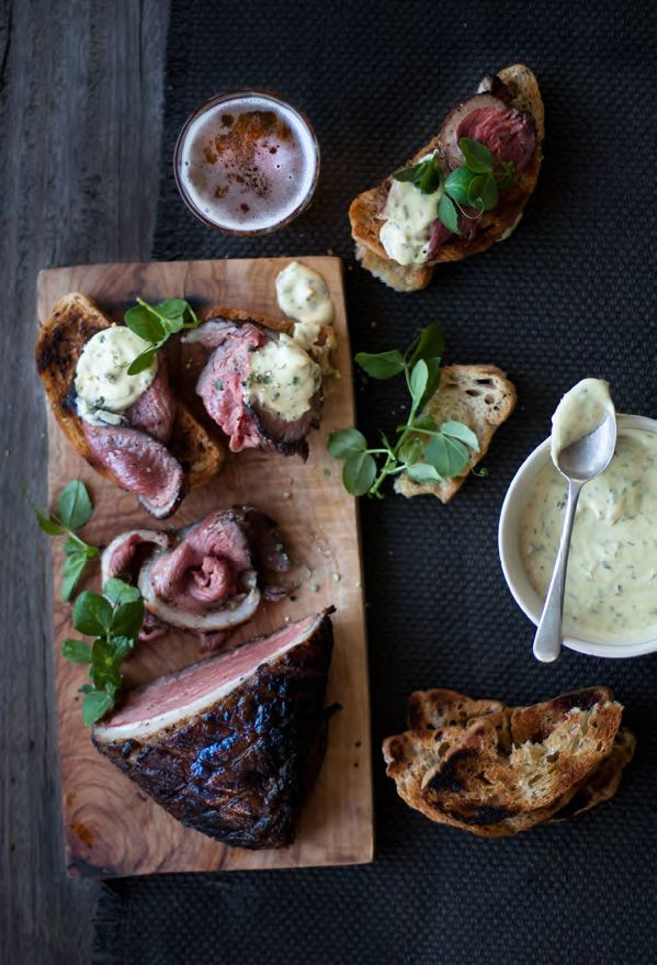 PICANHA STEAK ON TOASTED CIABATTA WITH MUSTARD CREAM