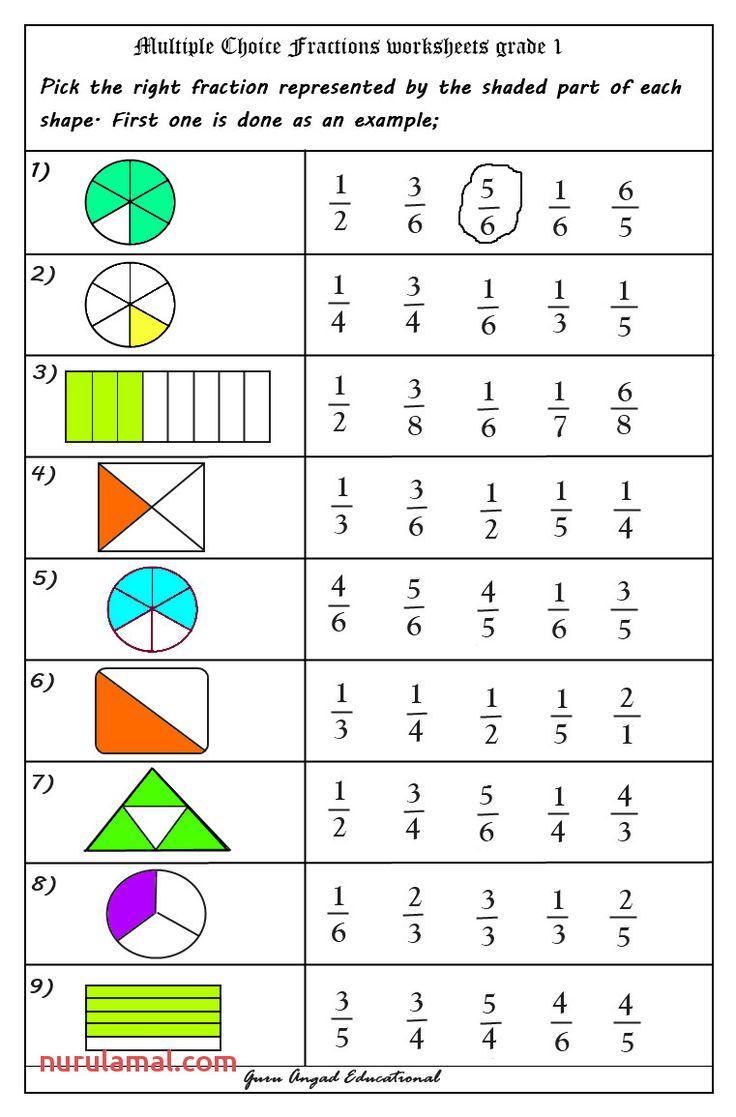 Grade 1 Worksheets   Math fractions worksheets, Fractions ...