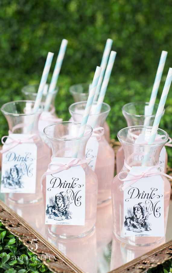 """Alice in Wonderland"" themed refreshments for a bridal shower. Some of these ideas are pretty cute!"