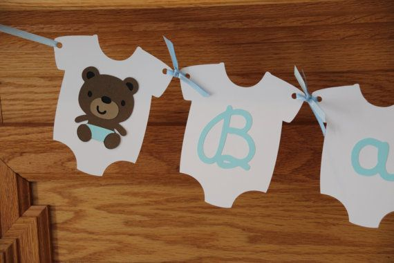Boy Teddy Bear Baby Shower Banner - Baby Blue