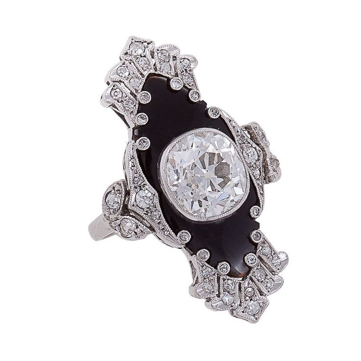 Unique Art Deco Onyx Diamond Platinum Ring | From a unique collection of vintage fashion rings at http://www.1stdibs.com/jewelry/rings/fashion-rings/