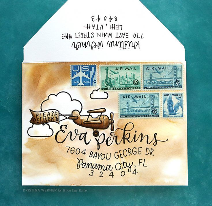 Custom Envelope Watercoloring - Monthly Mail Art - July 2017 - Simon Says Stamp Blog