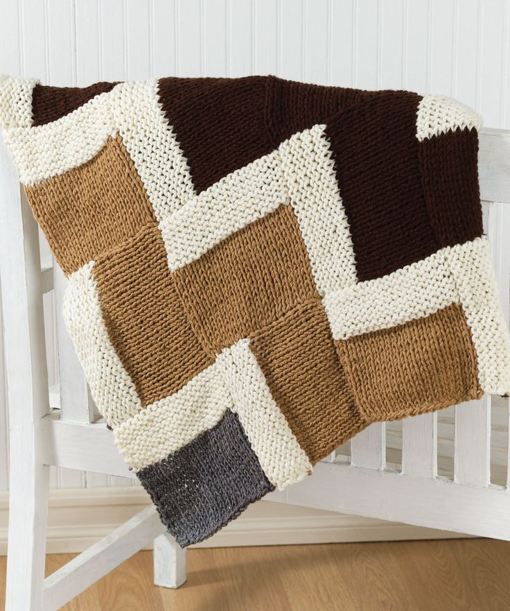 Easy Knitting Ideas Pinterest : Easy knit zigzag afghan knitted blankets pillows