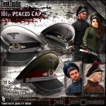 Second Life Marketplace - TonkTastic - 101st Peaked Cap