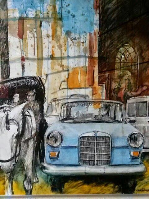 Houtskool..aquarel. .in Egypte op reis.