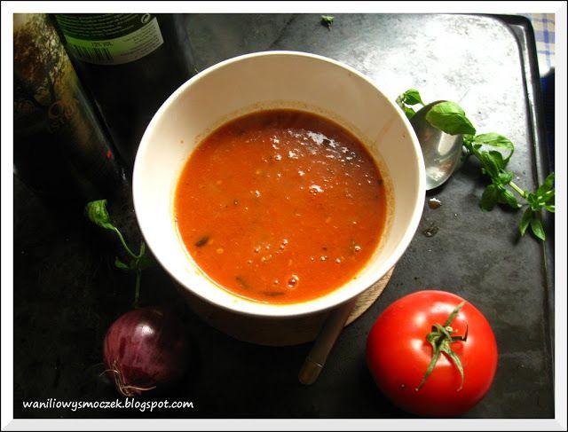 Pomidorowa z pieczonych pomidorów z winem i czerwona cebulka...pyszności na powitanie jesieni