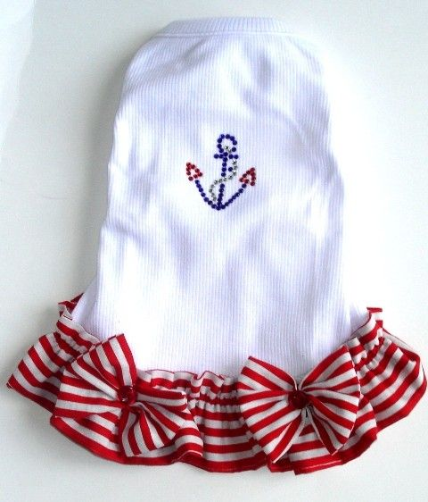 Dog Dresses Sail Away All Sizes Red Stripe  This dress is for that pup that loves to go boating!  It is a rib knit bodice in white with the cutest red