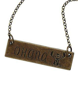 Disney Lilo & Stitch Ohana Plate Necklace,