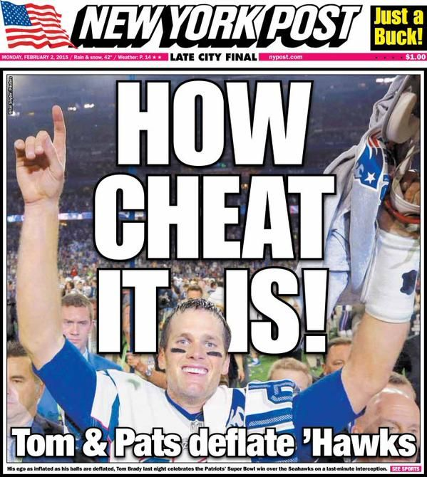"CHEATING PATS! 2001 AFC divisional playoff game, also known as the ""Tuck Rule Game,"" ""Snow Bowl,"" or the ""Snow Job"" - January 19, 2002 ""IT WAS A FUMBLE BRADY!"" SPYGATE - September 9, 2007 And last but not least… DEFLATEGATE - January 18, 2015."