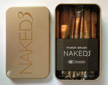 12 unids/set NAKED3 poder cepillo URBAN pinceles de maquillaje nake 3 Professional compone el kit del cepillo maquiagem ojo belleza caja de herramientas de Metal(China (Mainland))