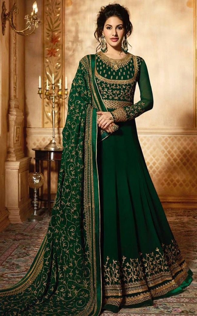 40cb2be0e5 Buy Green Faux Georgette Wedding Anarkali Suit Online | Sareeslane.com