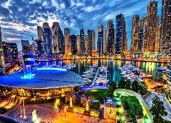 Drapacze, Chmur, Marina, Jachty, Dubaj, Panorama, Miasta, Nocą