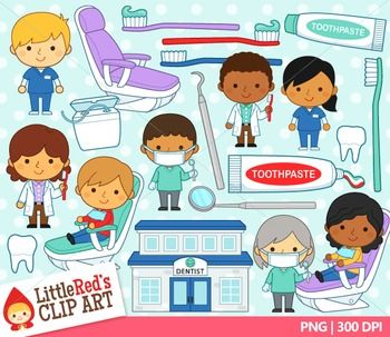 Community helpers dentist clip art set! Includes blacklines! By Little Red's Schoolhouse $