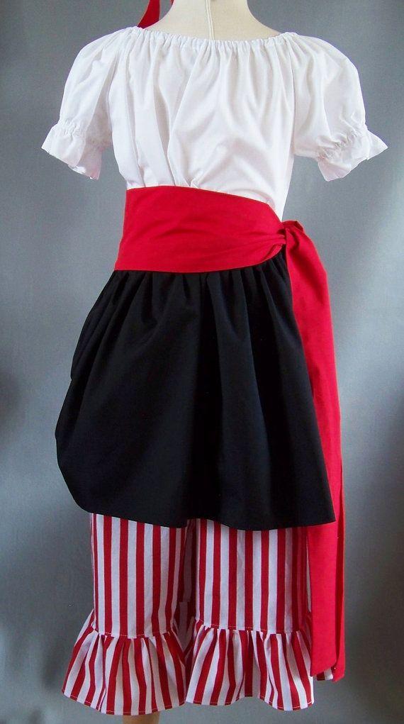 PIRATE COSTUME Girls 3 4 Ready to Ship 5 Piece Pantaloons Skirt Shirt Sash…
