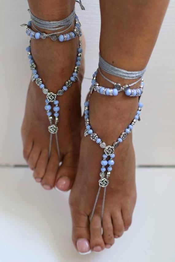 Sandals barefoot beach wedding foot jewelry boho jewelry bracelet mandala metal pink yoga gypsy