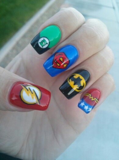 Superhero hand painted Nail Art