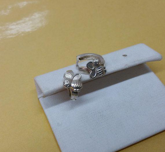 Kinder Ohrringe Creolen Biene Silber 925er SO141 von Schmuckbaron