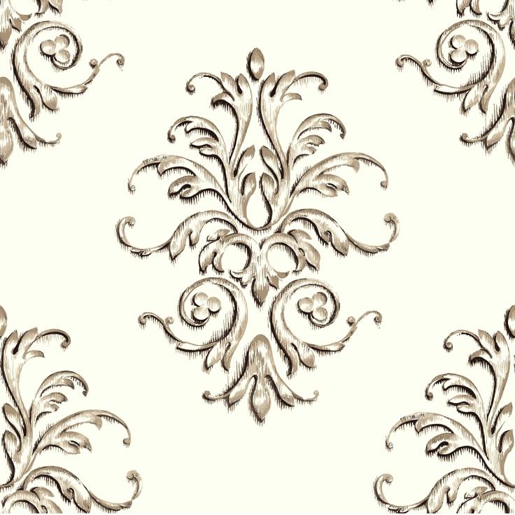 cream baroque motif color white and tan size 24 x 24