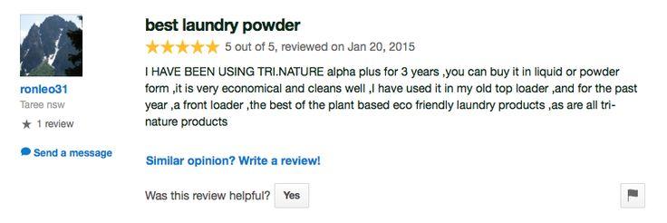 Tri Nature's Alpha Plus Laundry Powder - Testimonial