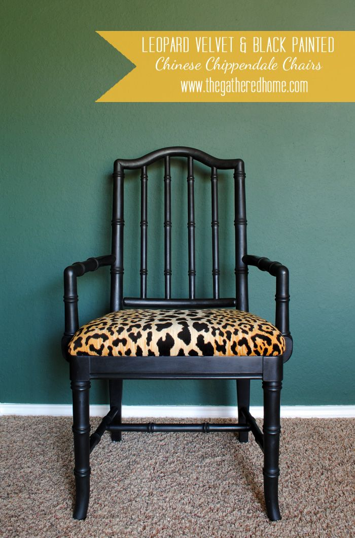 Black & leopard vintage Chinese chippendale chairs - fierce makeover!