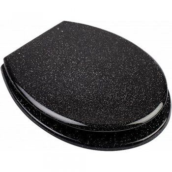 Astini Glitter Black Toilet Seat With Adjustable Chrome Metal Hinges - Astini from TAPS UK